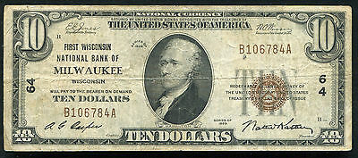 1929 $10 First Wisconsin Nb Of Milwaukee, Wi National Currency Ch. #64