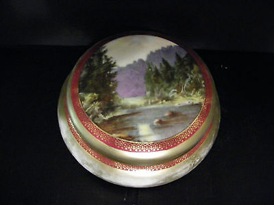 Vintage Porcelain Hand Painted Dresser Box powder jar with forest scene
