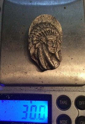 Sterling Silver Hand Cast Indian Chief Pendant Keychain Ingot 30 Grams 1 Ounce