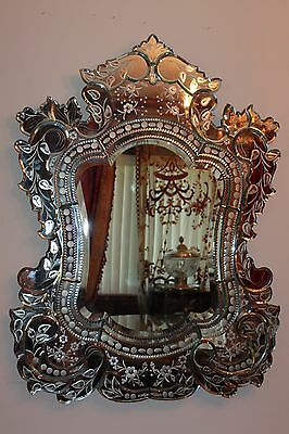 Magnificent Vintage Very Large Italy Venetian Etched Florals Wall Mirror