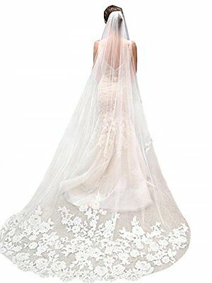 White Lace Edge Cathedral Length Wedding Bridal Veil with Comb