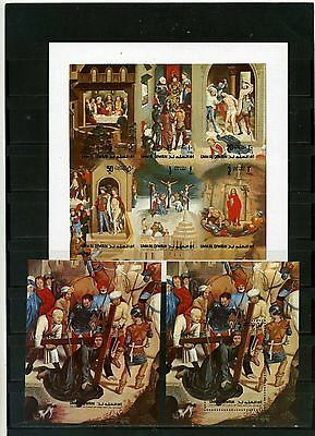 Umm Al Qiwaine 1972 Religious Paintings Sheet Of 6 Stamps Imperf & 2 S/s Mnh