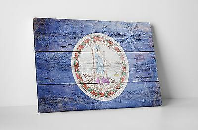 Vintage Virginia State Flag Gallery Wrapped Canvas Wall Art