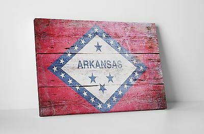 Vintage Arkansas State Flag Gallery Wrapped Canvas Wall Art