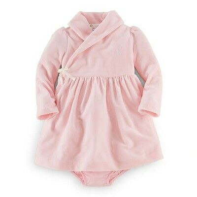 Ralph  Lauren baby girls velour dress set outfit  in pink , lilac , cream