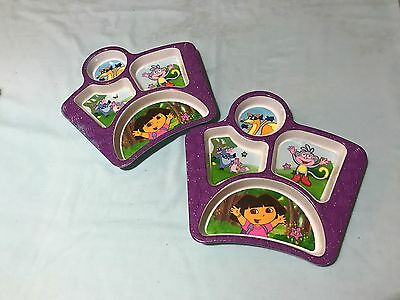 Dora The Explorer Children's Plate Lot Of 2 Sectional Used