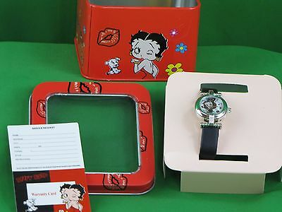 Collectible Betty Boop Watch 1985 W/card & Pull-Tab Animation Characters Jewelry