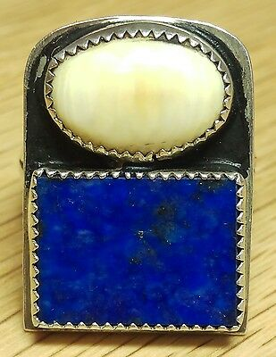 Vintage Southwestern Sterling lapis and bone ring size 9, #17