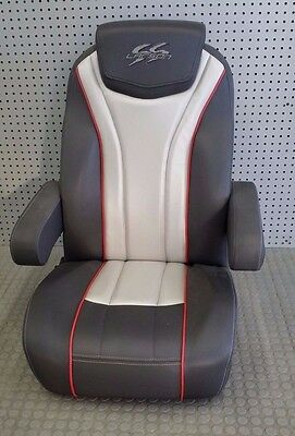 2015 Larson SS Black/Red/Silver Captains Helm Seat
