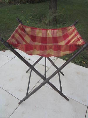 Antique Vintage FRENCH Victorian SEWING STAND Red Cream VICHY Fabric Turned Wood