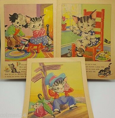 Ruth E Newton Children's Book Illustrations pages Kittens Cats Mice Set 3