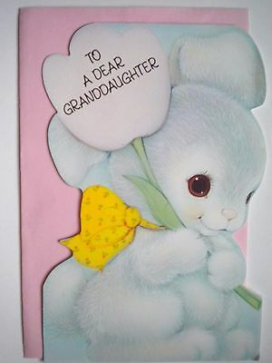 """Carlton Cards~VINTAGE """"TO A DEAR GRANDDAUGHTER"""" EASTER GREETING CARD w/ENVELOPE"""