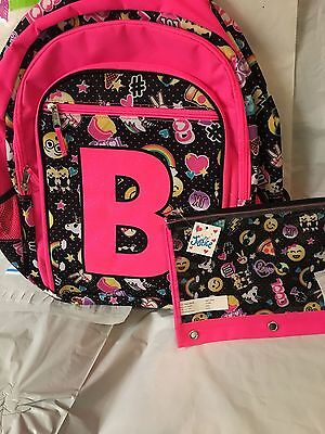 Justice S Emoji Backpack Electric Pink Initial B And Pencil Bag Cute New