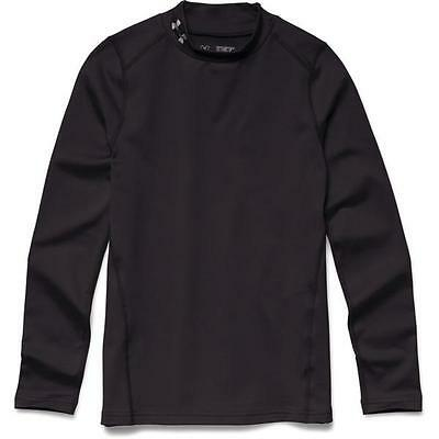 NWT Under Armour Boys Evo Coldgear Fitted Mock Neck LS Top Shirt XL Black NEW