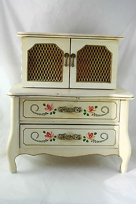 Vtg Musical Jewelry Box French Prov Country Cupboard Shape Japan Hand Painted