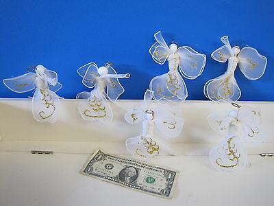 6pc Set of Dainty Angel Xmas Holiday Tree Ornament Modern Abstract Net Fabric #2