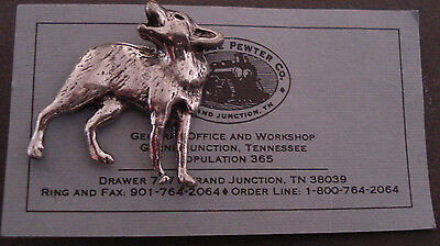 Cast Pewter Wild Coyote Howl Small Pin Tennessee Pewter Company Card Canine Wolf