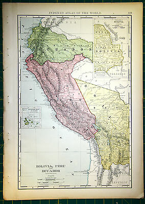 Original 1898 Antique Map of South America - High Level of Detail Bright Colors