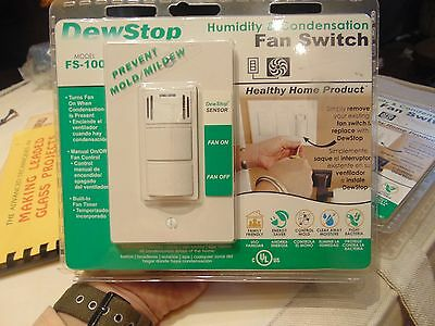 DewStop FS-100 Humidity & Condensa Bath Fan Switch - Prevents Mold and Mildew