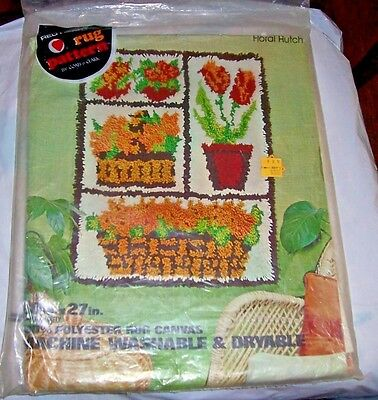 """Floral Hutch Latch Hook Canvas & Instructions  #RG114 NIP 20"""" x 27"""" Red Heart"""