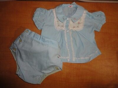 VINTAGE BABY CLOTHES~2 Piece Blue Girls Outfit w/Rubber Pants/Panties