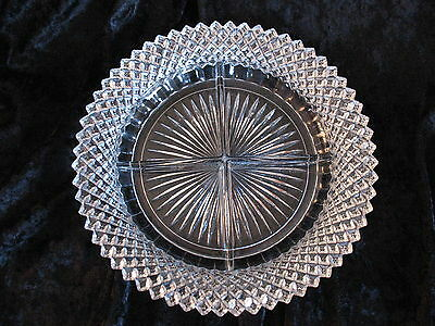 Vintage 4 (four) Section Divided  Clear DIVIDED RELISH DISH - Gorgeous VGUC