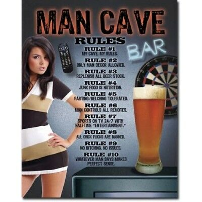 """Classic Sign """" Man Cave Rules"""" Tin Sign 40cm x 32cm FREE POST"""