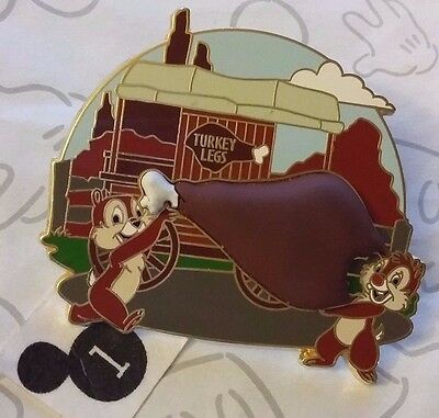 Chip and Dale Carrying a Turkey Leg Refreshment Wagon 2013 Disney Pin 3D Free D