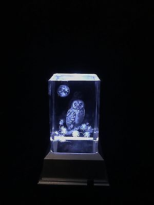 Owl with Moon 3D Laser Etched Crystal Block With 4 LED Light base