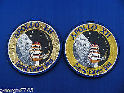 """2 Vintage Lion Brothers Apollo 12 (XII) Patches 4"""" Mint/Near Mint + Stamp NASA"""