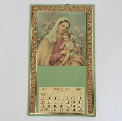 Vintage 1955 Religious Catholic Feast and Fast Day Wall Art Calendar 8in x 13.5i