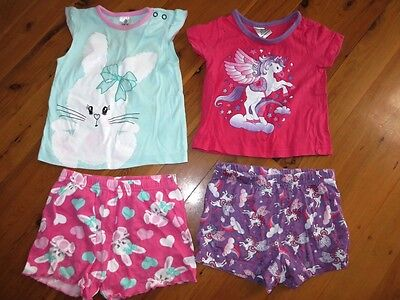 Two Girl Summer Pyjamas Toddler Baby Size 1 Top & Shorts Target Neon Cheap Post!