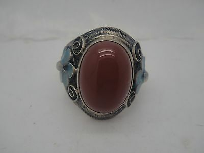 Asian Chinese handwork red jade Hand Carved Silver Rings Decorative Gifts