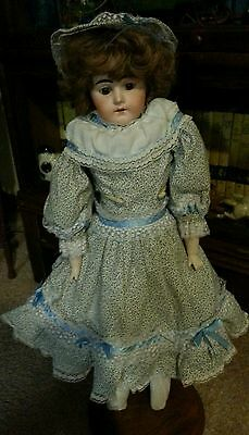"Gorgeous Antique German Fashion Bisque Head Doll Leather Body 22"" tall"
