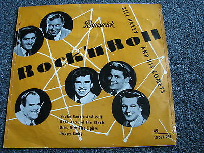 Bill Haley and his Comets-Rock n Roll 7 PS-4 Track EP-1955 German-genähtes Cover