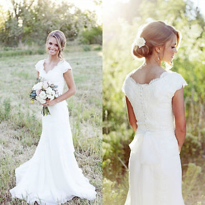 Stock New White/Ivory lace Formal Wedding Dress Bridal ball Gown size 6-16