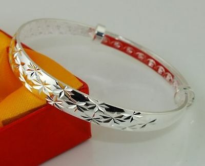 Girls Adjustable Silver Etched Starry Stamped 925 Sterling Silver Plated Bangle