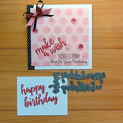 "Die-Namics Brushstroke Birthday Sentiments 5 Pce Cutting Die ""reduced"" - Bnip"