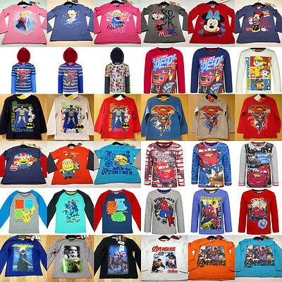 Boys Girls Kids Characters Frozen Blaze Pokemon Long sleeve T-Shirt Top age 3-12
