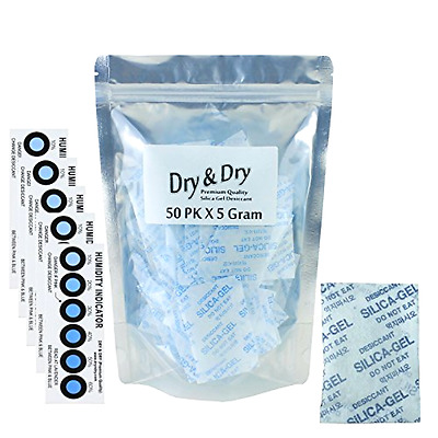 50 Packs 5 Gram Dry & Dry Premium Silica Gel Desiccant Packets Rechargeable