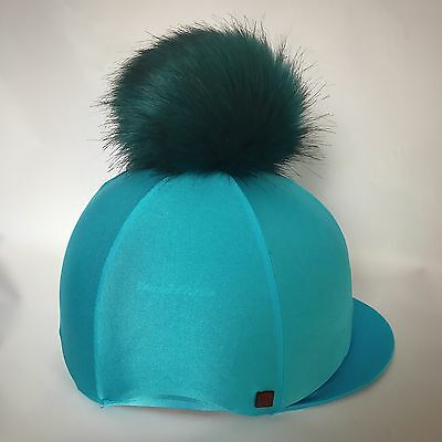Faux Fur 'Big Pom' Riding Hat Cover Silk Equestrian Eventing Cross Country