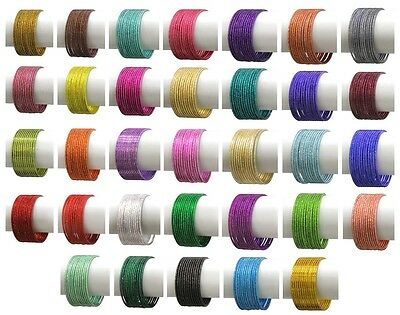 12 Coloured Indian Plain Bangle Bellydancing All Bangle Size Metal Jewelry