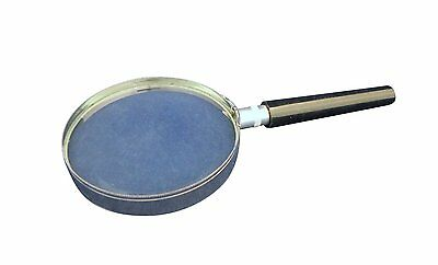 Ajax Scientific Magnifying Glass Metal Rim Handle Black Plastic - 75mm Diameter