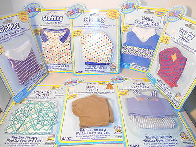 Lot of (8) Assorted Webkinz Pet Clothing For Dogs and Cats, GANZ, NIP