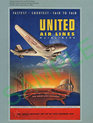 United Air Lines Boeing DC3 New York repro poster