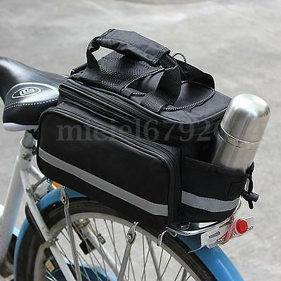 Expandable Shoulder Bike Bicycle Pannier Saddle Rear Seat Travel Bag + Raincover