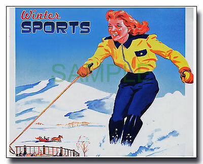 Winter Sports skiing framed repro poster