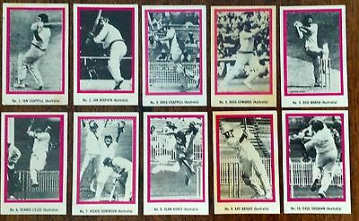 1974 Sunicrust Test Cricket Series - Full Set Of 40 Cards.  Excellent Condition.