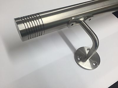 Stainless Steel Handrail  Wallrail Bannister  Grab rail with  Grooved End Caps