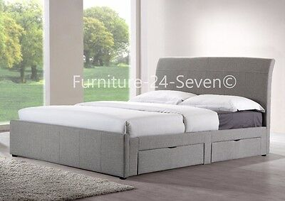 Grey Fabric Upholstered 4 Drawer Storage 4FT6 Double 5FT King
